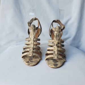 Tory Burch Charlene Caged Reptile Print Sandals 6M
